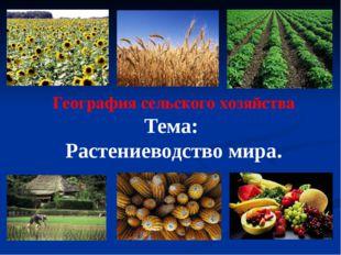 География сельского хозяйства Тема: Растениеводство мира.