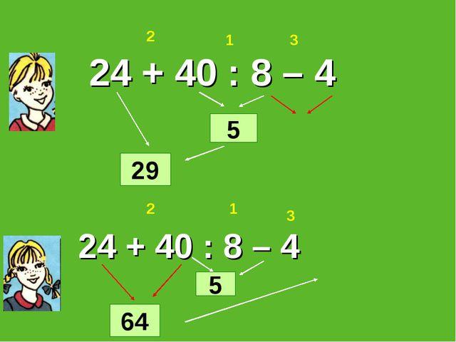 24 + 40 : 8 – 4 64 24 + 40 : 8 – 4 1 2 3 1 2 3 5 5 29