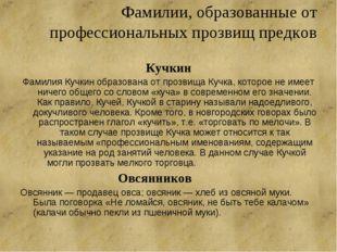 Фамилии, образованные от профессиональных прозвищ предков Кучкин Фамилия Кучк