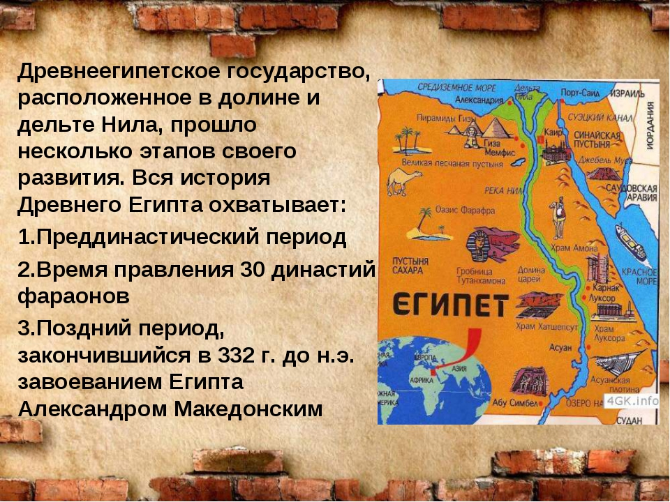 Древнеегипетское государство, расположенное в долине и дельте Нила, прошло не...