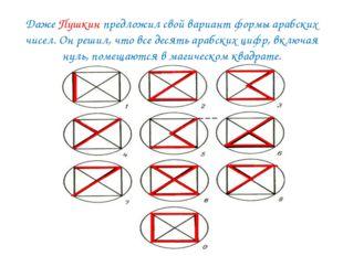 Даже Пушкин предложил свой вариант формы арабских чисел. Он решил, что все д