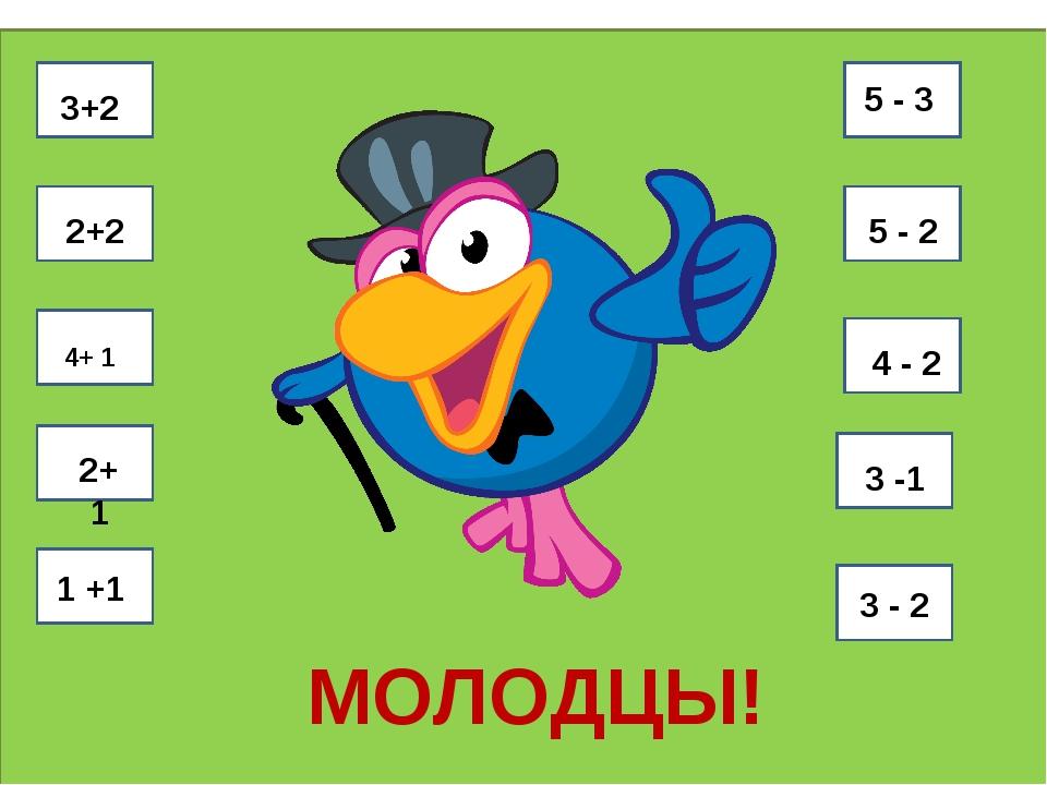 3+2 2+2 4+ 1 2+1 1 +1 5 - 3 5 - 2 4-44 4 - 2 3 -1 3 -3 3 - 2 МОЛОДЦЫ!
