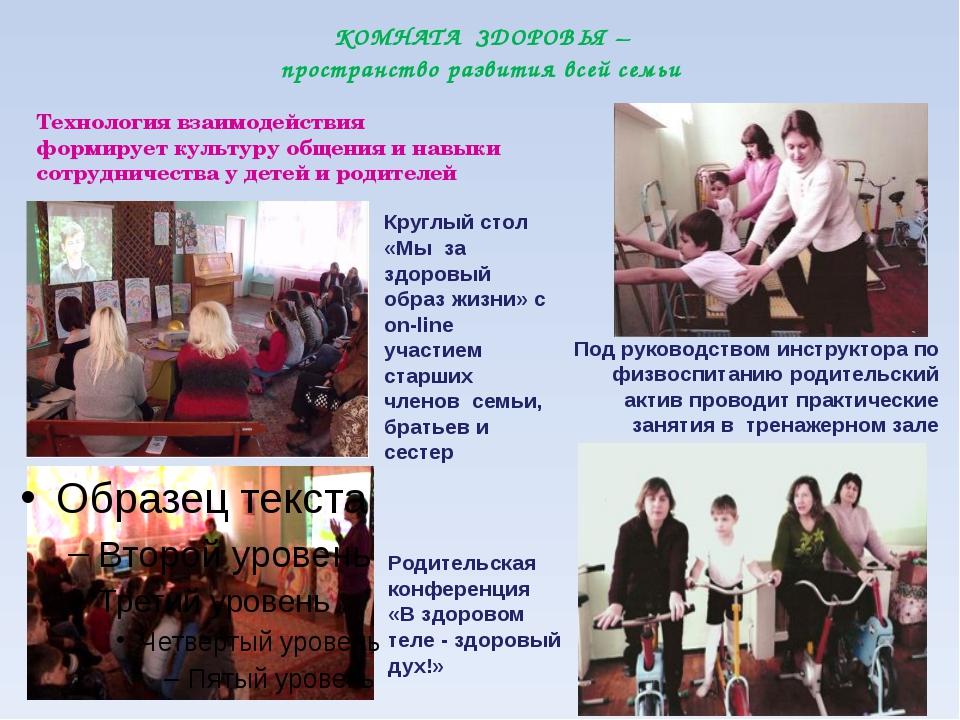 КОМНАТА ЗДОРОВЬЯ – пространство развития всей семьи Круглый стол «Мы за здор...