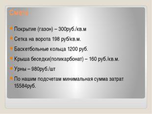 Смета Покрытие (газон) – 300руб./кв.м Сетка на ворота 198 руб/кв.м. Баскет