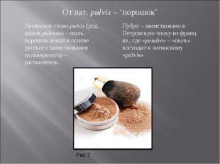 От лат. pulvis – 'порошок' Латинское слово pulvis (род. падеж pulveris) – пыл