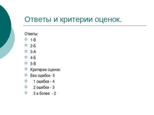 Ответы и критерии оценок. Ответы: 1-В 2-Б 3-А 4-Б 5-В Критерии оценок: Без ош