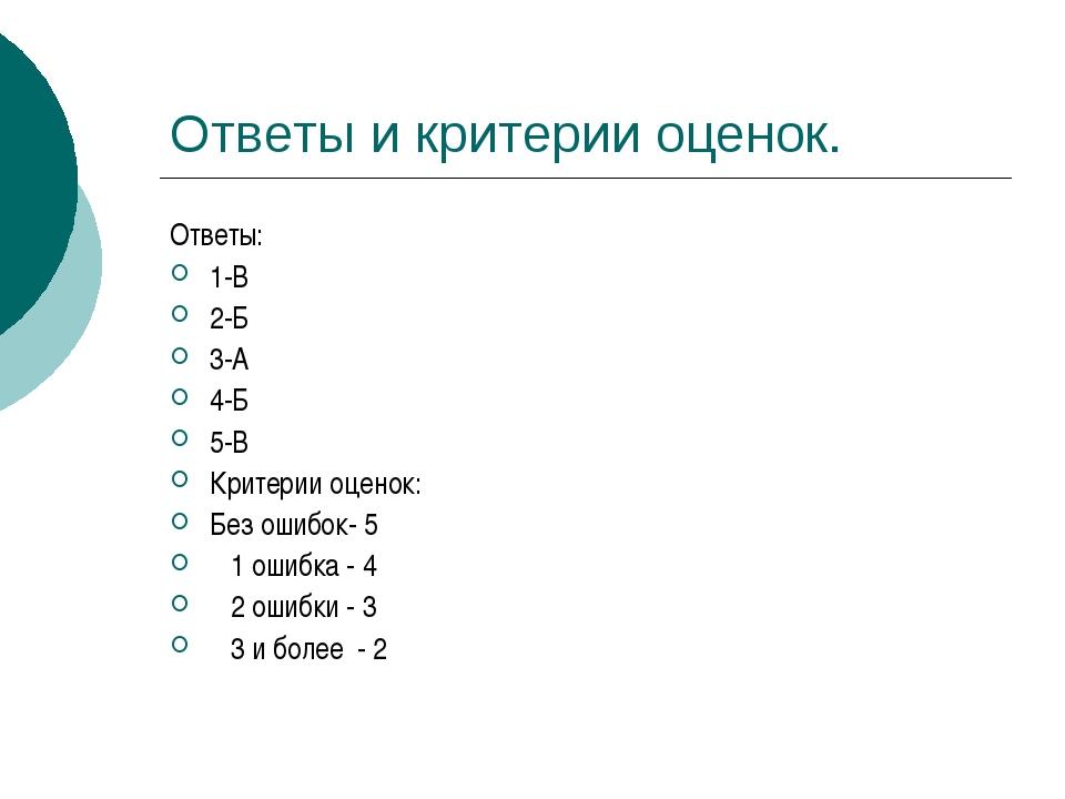 Ответы и критерии оценок. Ответы: 1-В 2-Б 3-А 4-Б 5-В Критерии оценок: Без ош...