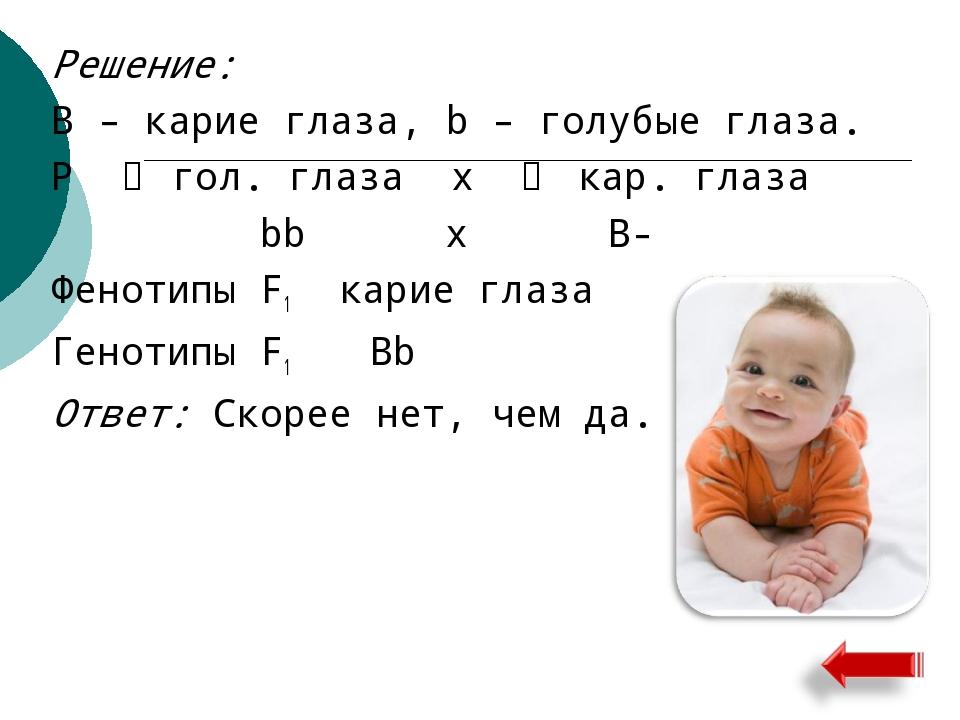 Решение: B – карие глаза, b – голубые глаза. Р ♀ гол. глаза х ♂ кар. глаза bb...