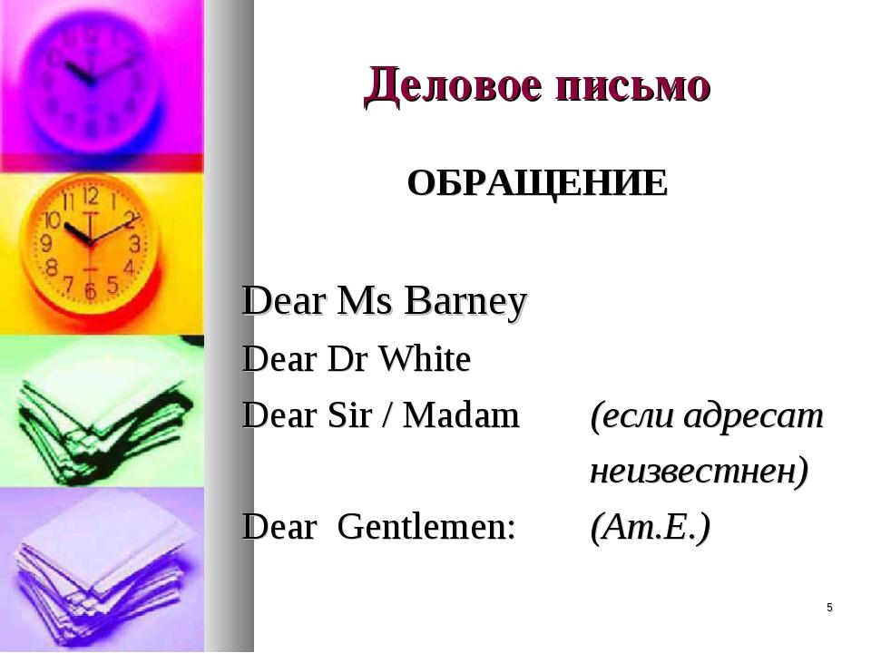 * Деловое письмо ОБРАЩЕНИЕ Dear Ms Barney Dear Dr White Dear Sir / Madam (ес...