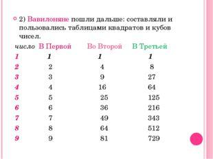 2) Вавилоняне пошли дальше: составляли и пользовались таблицами квадратов и к