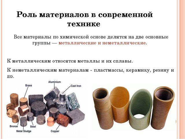 Роль материалов в современной технике Все материалы по химической основе деля...