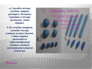 Ножки а. Скатайте четыре голубых шарика размером с большую горошину и четыре