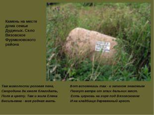 Камень на месте дома семьи Дудиных. Село Вязовское Фурмановского района Там ж