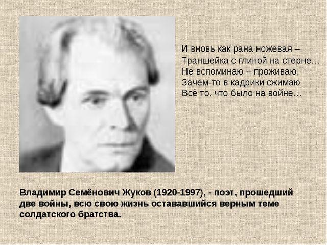 Владимир Семёнович Жуков (1920-1997), - поэт, прошедший две войны, всю свою ж...