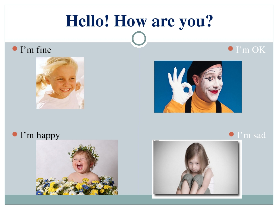 Hello! How are you? I'm fine I'm happy I'm OK I'm sad