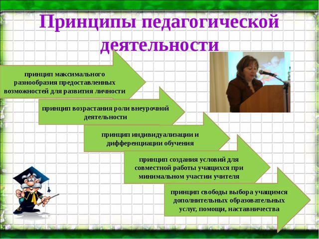 Принципы педагогической деятельности Страница принцип максимального разнообра...
