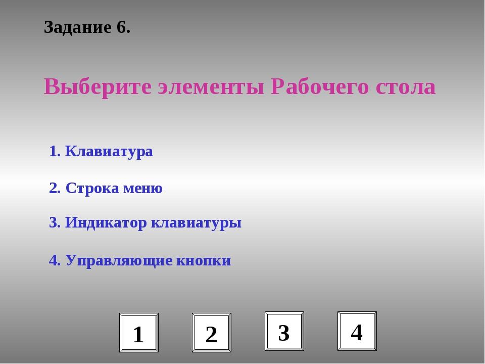 Задание 6. 1. Клавиатура 2. Строка меню 3. Индикатор клавиатуры 4. Управляющи...