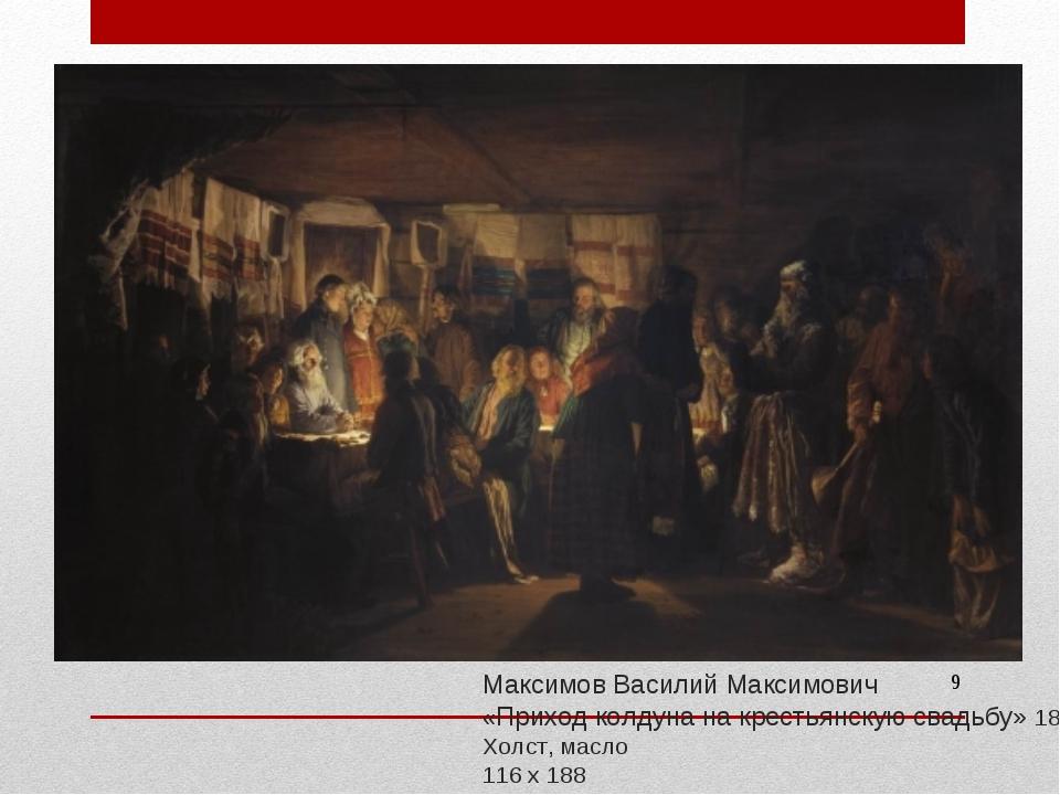Максимов Василий Максимович «Приход колдуна на крестьянскую свадьбу» 1875 Х...