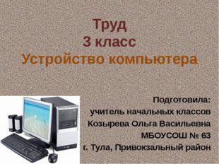 Труд 3 класс Устройство компьютера Подготовила: учитель начальных классов Коз