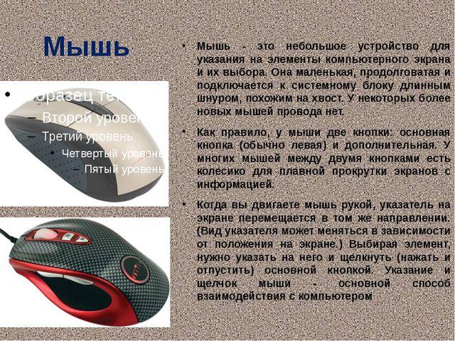 Мышь Мышь - это небольшое устройство для указания на элементы компьютерного э...