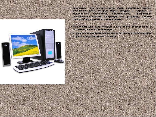 Компьютер - это система многих узлов, работающих вместе. Физические части, ко...