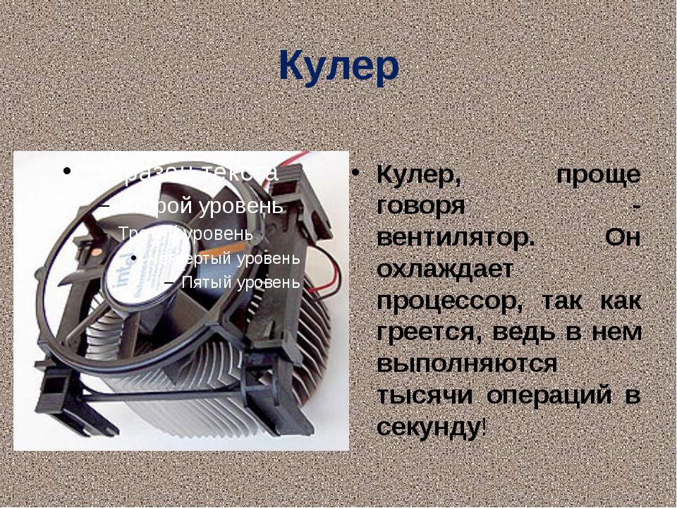 Кулер Кулер, проще говоря - вентилятор. Он охлаждает процессор, так как греет...