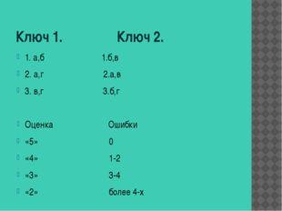Ключ 1. Ключ 2. 1. а,б 1.б,в 2. а,г 2.а,в 3. в,г 3.б,г Оценка Ошибки «5» 0 «4