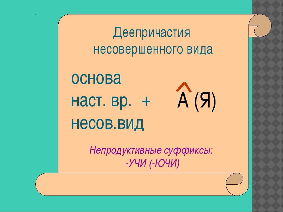 Деепричастия несовершенного вида основа наст. вр. + несов.вид А (Я) Непроду...