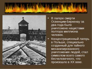 В лагере смерти Освенцим-Биркенау за два года было уничтожено нацистами полто