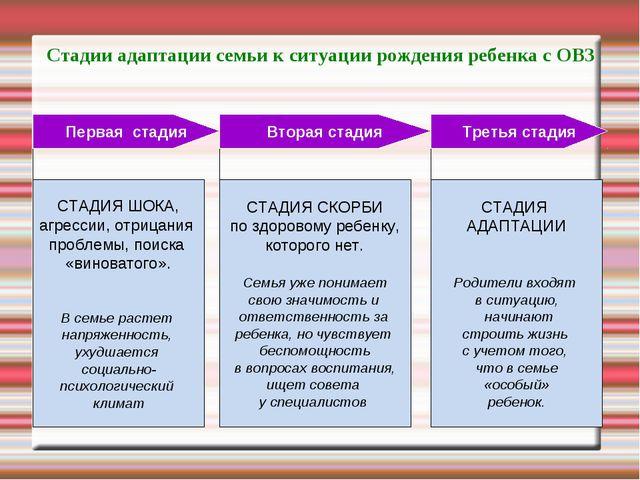 Стадии адаптации семьи к ситуации рождения ребенка с ОВЗ СТАДИЯ ШОКА, агресси...