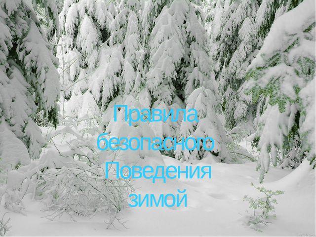 Правила безопасного Поведения зимой