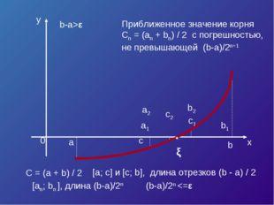 x y a b c C = (a + b) / 2 a1 b1 c1 a2 b2 c2 b-a>ε [a; c] и [c; b], длина отре