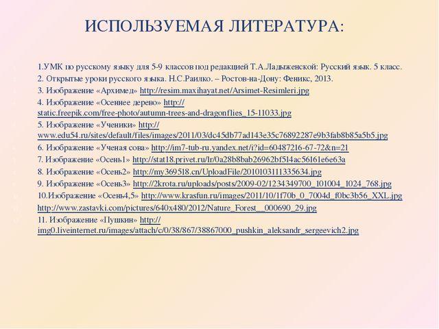 ИСПОЛЬЗУЕМАЯ ЛИТЕРАТУРА: 1.УМК по русскому языку для 5-9 классов под редакцие...