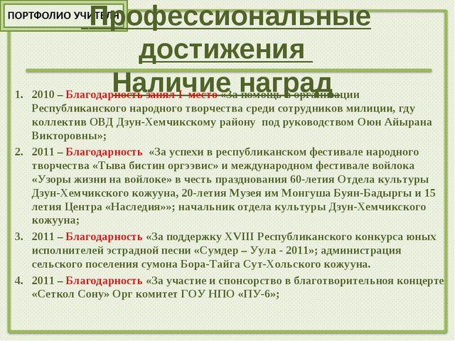 Профессиональные достижения Наличие наград 2010 – Благодарность занял I мест...