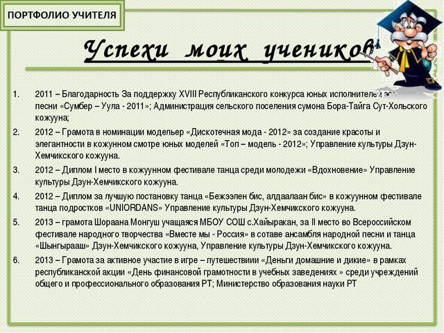 2011 – Благодарность За поддержку XVIII Республиканского конкурса юных испол...