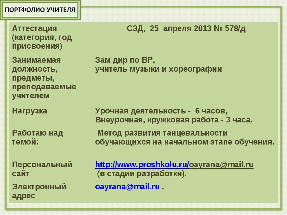 Аттестация (категория, год присвоения)  СЗД, 25 апреля 2013 № 578/д Занимаем...