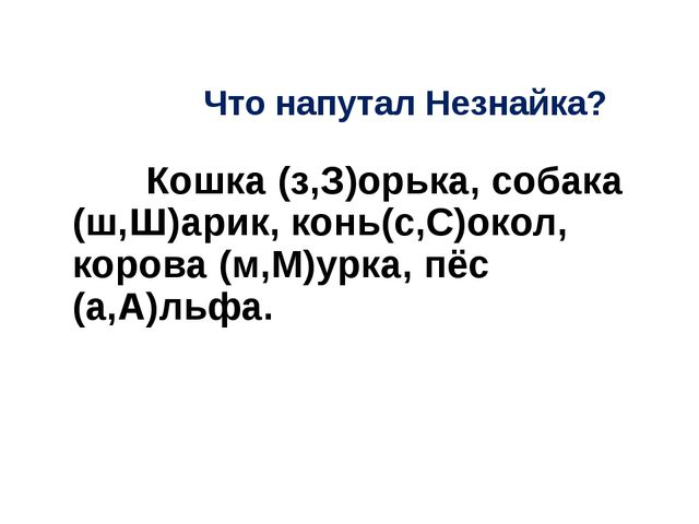 Что напутал Незнайка? Кошка (з,З)орька, собака (ш,Ш)арик, конь(с,С)окол, кор...