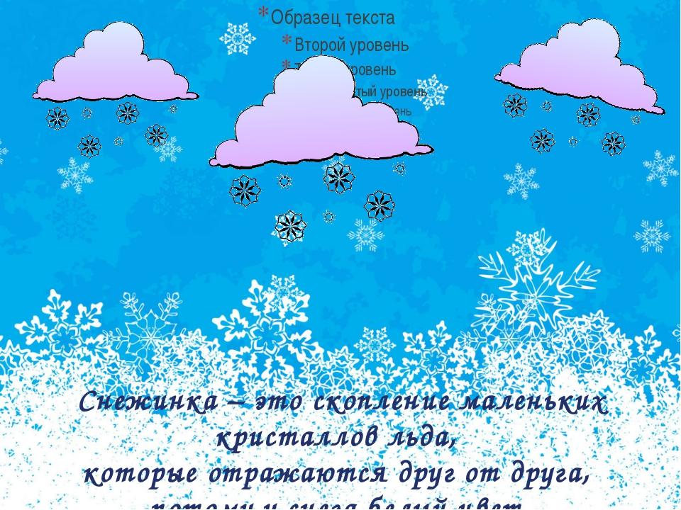 Снежинка – это скопление маленьких кристаллов льда, которые отражаются друг...
