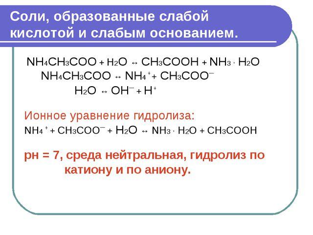 Соли, образованные слабой кислотой и слабым основанием. NH4СН3СОО + H2O ↔ СН3...