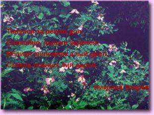 Тянулся за рекою дол, Спокойно, пышно зеленея; Вблизи шиповник алый цвел, Ст