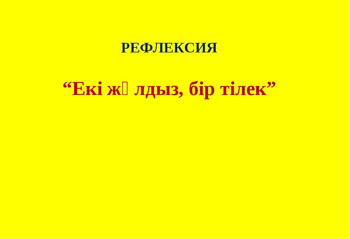 """РЕФЛЕКСИЯ """"Екі жұлдыз, бір тілек"""""""
