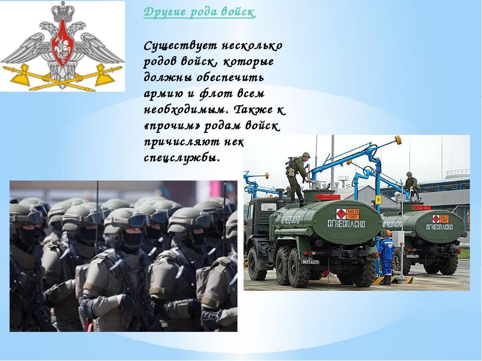 Другие рода войск Существует несколько родов войск, которые должны обеспечит...