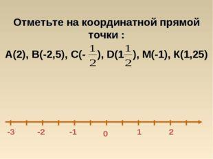 0 -1 1 -3 Отметьте на координатной прямой точки : А(2), В(-2,5), С(- ), D(1 )