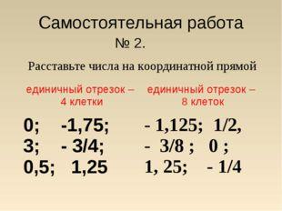 Самостоятельная работа № 2. Расставьте числа на координатной прямой единичны