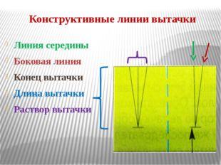 Конструктивные линии вытачки Линия середины Боковая линия Конец вытачки Длина
