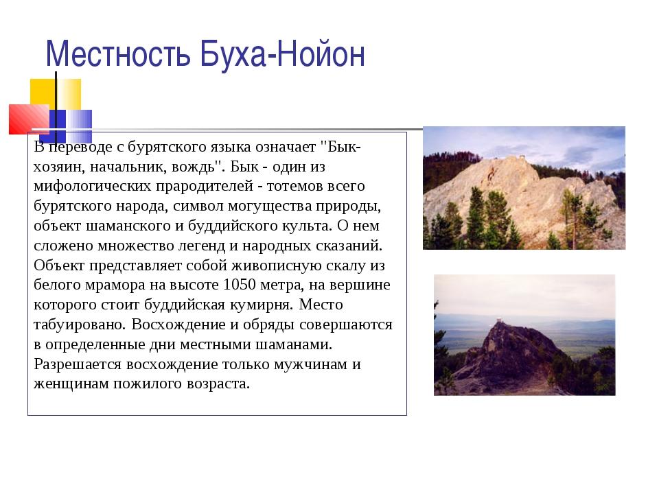 """Местность Буха-Нойон В переводе с бурятского языка означает """"Бык-хозяин, нача..."""