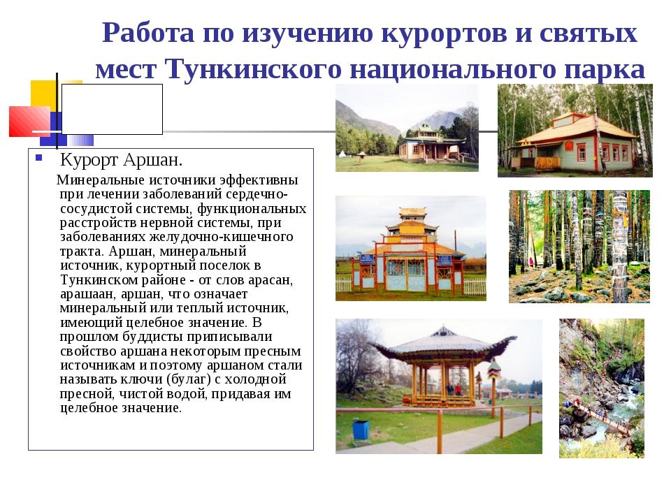 Работа по изучению курортов и святых мест Тункинского национального парка Кур...