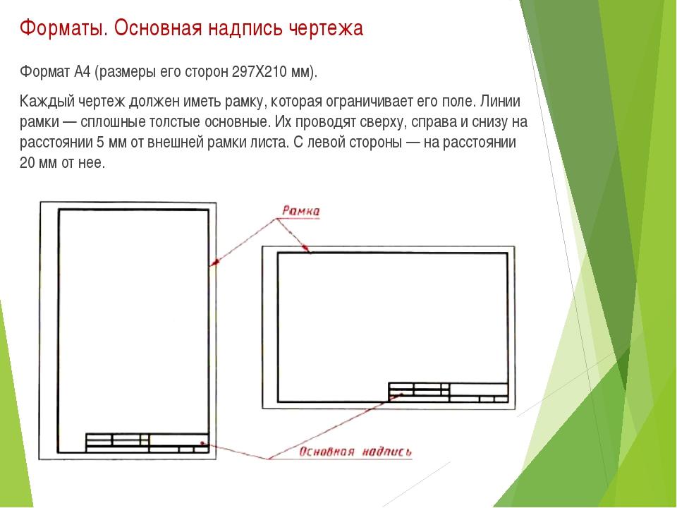 Форматы. Основная надпись чертежа Формат А4 (размеры его сторон 297X210 мм)....