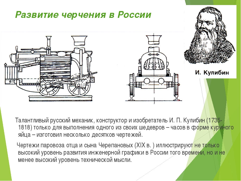 Развитие черчения в России Талантливый русский механик, конструктор и изобрет...