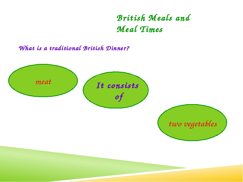What is a traditional British Dinner? British Meals and Meal Times It consist...
